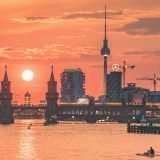 Oberbaumbrücke Berliner Fernsehturm Sonnenuntergang